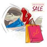 Venta de la estación de las compras, muchacha en coche en zapatos rojos con los panieres El ejemplo con las letras se puede utili ilustración del vector