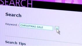 Venta de la Navidad de la búsqueda del Web Fotografía de archivo