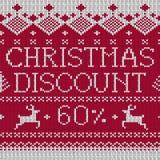 Venta de la Navidad: Descuento el 60% (knitte inconsútil del estilo escandinavo Imagen de archivo libre de regalías