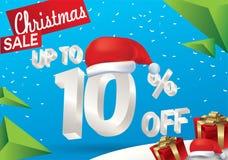 Venta de la Navidad el 10 por ciento Fondo de la venta del invierno con el texto del hielo 3d con la bandera y la nieve de Papá N stock de ilustración