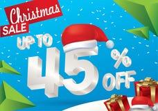 Venta de la Navidad el 45 por ciento Fondo de la venta del invierno con el texto del hielo 3d con la bandera y la nieve de Papá N stock de ilustración