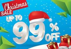 Venta de la Navidad el 99 por ciento Fondo de la venta del invierno con el texto del hielo 3d con la bandera y la nieve de Papá N stock de ilustración
