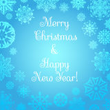 Venta de la Navidad Fondo de la Navidad y del Año Nuevo Copos de nieve en un fondo azul Ilustración del Vector