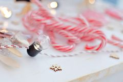 Venta de la Navidad Los niños venden los dulces del Año Nuevo Palillos lisos del caramelo dulces del eco Imagen de archivo libre de regalías