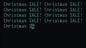 Venta de la Navidad de la mano que mecanografía 2 palabras que escriben en viejo cierre llevado verde de la pantalla de la pantal stock de ilustración