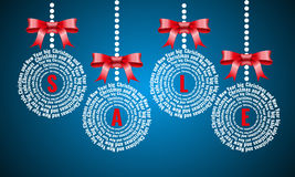 VENTA de la Navidad, nube de la palabra de la bola de la Navidad, días de fiesta que ponen letras al collage Fotos de archivo libres de regalías