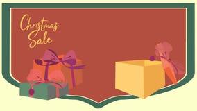 Venta de la Navidad que coloca el vídeo animado Cantidad del descuento que hace compras con las cajas, los números y el por cient