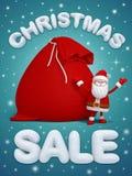 Venta de la Navidad, Santa Claus, texto de la nieve 3d Imagen de archivo libre de regalías