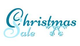 Venta de la Navidad - subtítulo azul en un copo de nieve stock de ilustración