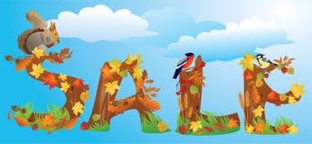 VENTA de la palabra en estilo del otoño ilustración del vector