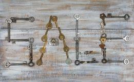 VENTA de la palabra hecha con viejas llaves Imágenes de archivo libres de regalías