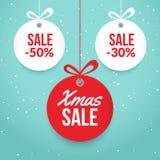 Venta de las bolas de la Navidad Etiqueta del vector de la oferta especial Plantilla de la tarjeta del día de fiesta del Año Nuev ilustración del vector