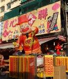 Venta de las decoraciones del Año Nuevo por el Año Nuevo chino Foto de archivo