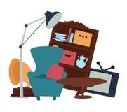 Venta de las mercancías de mano de los muebles segundos de la venta de garaje libre illustration