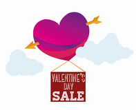Venta de las tarjetas del día de San Valentín Imágenes de archivo libres de regalías