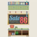 Venta de los muebles el hasta 80 por ciento Fotos de archivo libres de regalías