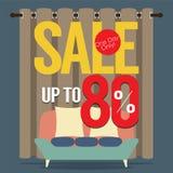 Venta de los muebles el hasta 80 por ciento Foto de archivo libre de regalías