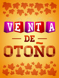 Venta de otono - Autumn sale spanish text vector typography poster Royalty Free Stock Photos