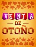 Venta de otono - manifesto spagnolo di tipografia di vettore del testo di vendita di autunno Fotografie Stock Libere da Diritti