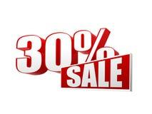 venta de 30 porcentajes en las letras 3d y bloque Fotografía de archivo