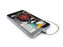 Venta de Real Estate o concepto en línea del alquiler Plantilla móvil del app, ejemplo 3d stock de ilustración