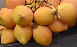 Venta de rey Coconuts Display For en la pequeña calle en Malwana imagen de archivo