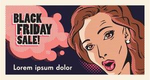 Venta de viernes del negro de la mujer del arte pop Fotografía de archivo