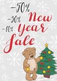 Venta del Año Nuevo El poner letras con un oso de peluche lindo ilustración del vector