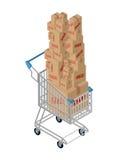 Venta del carro de la compra y de la caja El hacer compras en el supermercado Muchos rectángulos stock de ilustración
