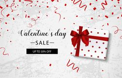 Venta del día de la tarjeta del día de San Valentín s Fondo concreto con la caja de regalo y el confeti Vector libre illustration