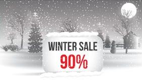 Venta del invierno el 5 por ciento Cartel grande de la venta del invierno con los copos de nieve C Foto de archivo