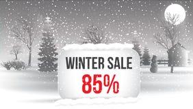 Venta del invierno el 5 por ciento Cartel grande de la venta del invierno con los copos de nieve C Imagenes de archivo