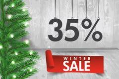 Venta del invierno el 35 por ciento Fondo de la venta del invierno con la cinta roja Fotografía de archivo