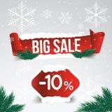 Venta del invierno el 10 por ciento Fondo de la venta del invierno con la cinta roja b Fotos de archivo libres de regalías