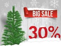Venta del invierno el 30 por ciento Fondo de la venta del invierno con la cinta roja b Fotografía de archivo