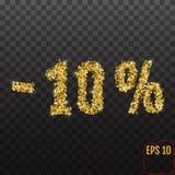 Venta del oro el 10 por ciento El por ciento de oro de la venta el 10% en el CCB transparente Fotografía de archivo libre de regalías