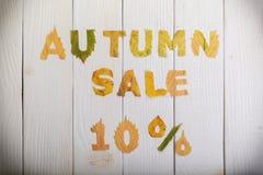 Venta del otoño el 10 por ciento Fotografía de archivo libre de regalías