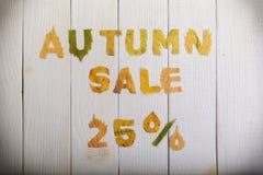 Venta del otoño el 25 por ciento Imágenes de archivo libres de regalías