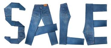 Venta del texto de los pantalones vaqueros Imagen de archivo libre de regalías