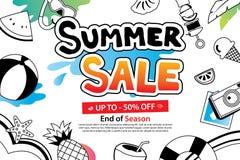 Venta del verano con el icono y el diseño del garabato en el fondo blanco adv ilustración del vector