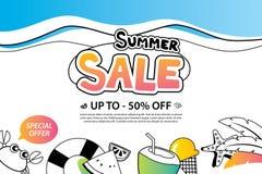 Venta del verano con el icono y el diseño del garabato en el fondo blanco adv stock de ilustración