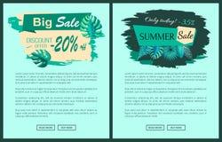 Venta del verano con el 35 y 20 por ciento de promocional ilustración del vector