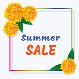 Venta del verano del cartel Marco y flores coloreados con el inscripti stock de ilustración