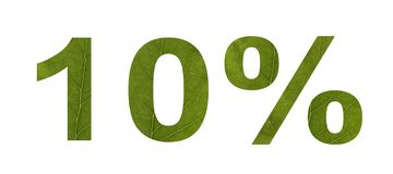 Venta del verano Descuento el 10 por ciento, fondo aislado blanco La textura de la hoja del ?rbol Bandera, aviador, invitación, stock de ilustración