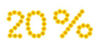 Venta del verano Descuento el 20 por ciento, fondo aislado blanco Símbolos de las flores amarillas hrezentemy Bandera, aviador, i imágenes de archivo libres de regalías