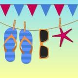 Venta del verano - fondo del vector con los iconos stock de ilustración