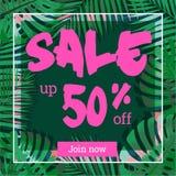 Venta del verano Web-bandera o cartel con las hojas de palma EPS 10 stock de ilustración