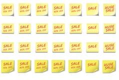 Venta determinada 75- el 95% de la NOTA de POST-IT Imagen de archivo libre de regalías