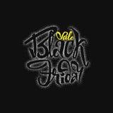 Venta dotworking de Black Friday - las etiquetas engomadas, insignias, han escrito las herramientas de la caligrafía y modificado Fotografía de archivo