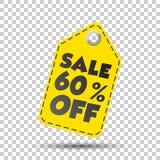 Venta el 60% de la etiqueta colgante Ilustración del vector Fotografía de archivo libre de regalías